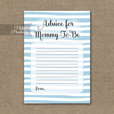 Advice For Mommy Baby Shower Game - Blue Drawn Stripe