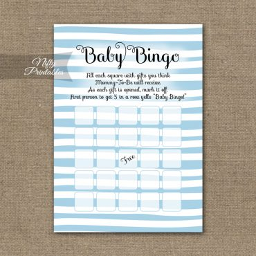 Baby Shower Bingo Game - Blue Drawn Stripe