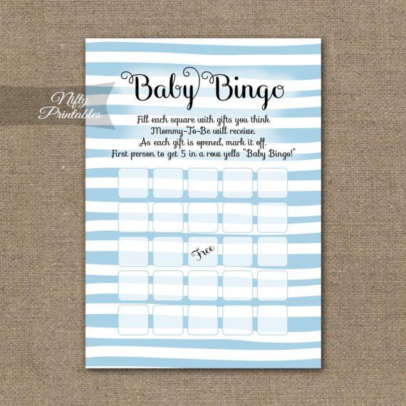 Baby Shower Bingo Game - Blue Drawn Stripe