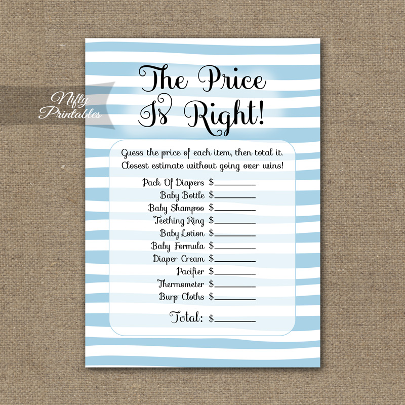 Price Is Right Baby Shower Game - Blue Drawn Stripe
