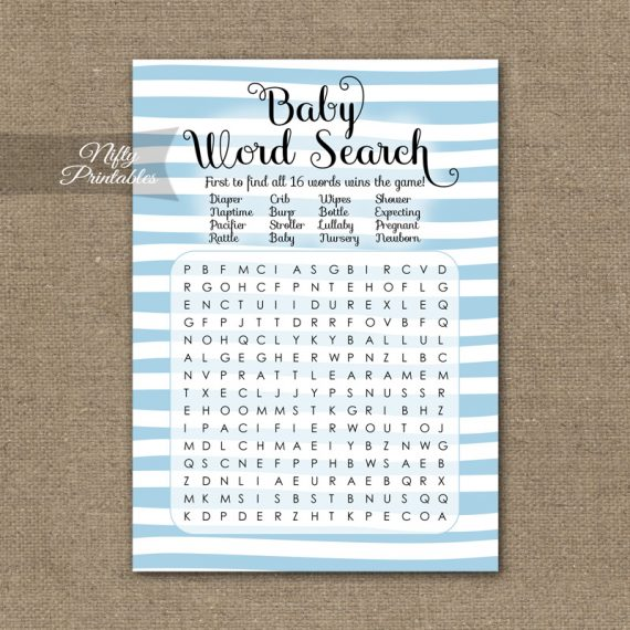 Baby Shower Word Search Game - Blue Drawn Stripe