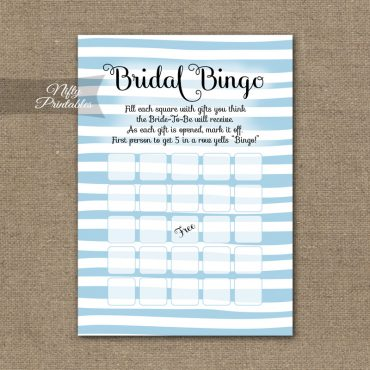 Bridal Shower Bingo Game - Blue Drawn Stripe