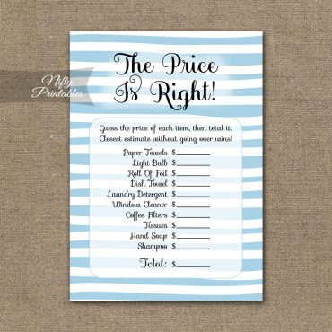 Price Is Right Bridal Shower Game - Blue Drawn Stripe