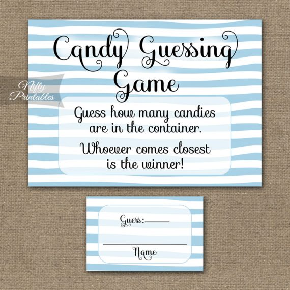 Candy Guessing Game - Blue Drawn Stripe