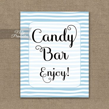 Candy Buffet Sign - Blue Drawn Stripe