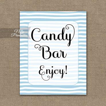 Candy Buffet Sign - Blue Drawn Stripe