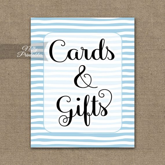 Cards & Gifts Sign - Blue Drawn Stripe