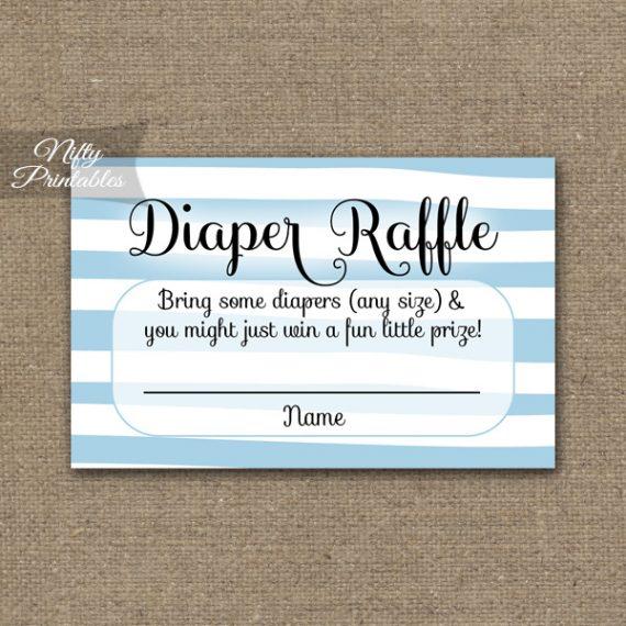 Diaper Raffle Baby Shower - Blue Drawn Stripe