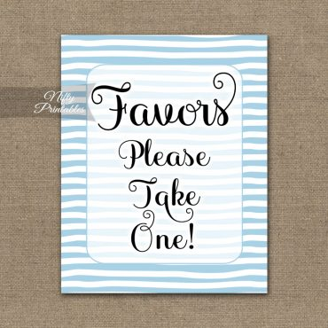 Favors Sign - Blue Drawn Stripe