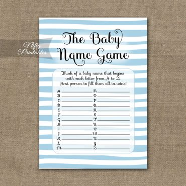 Name Game Baby Shower - Blue Drawn Stripe
