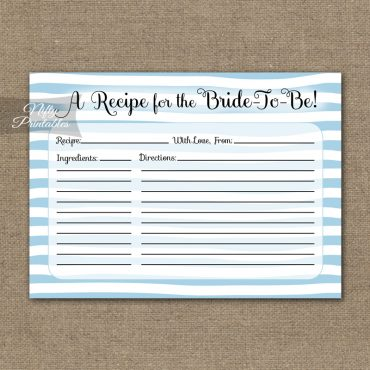 Bridal Shower Recipe Cards - Blue Drawn Stripe