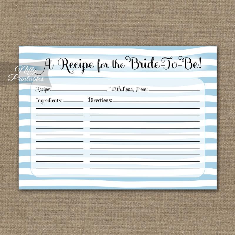 bridal shower recipe cards blue drawn stripe