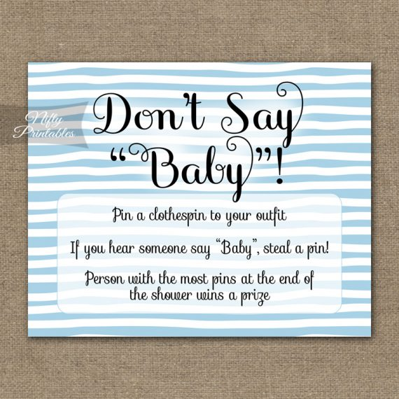 Don't Say Baby Shower Game - Blue Drawn Stripe