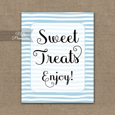 Sweet Treats Dessert Sign - Blue Drawn Stripe
