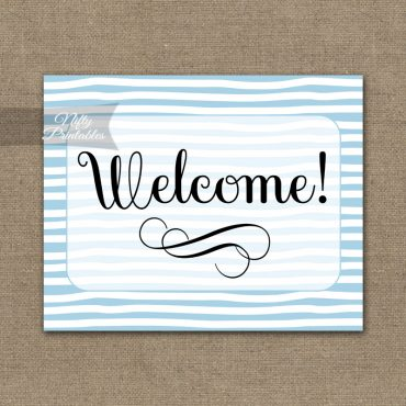 Welcome Sign - Blue Drawn Stripe