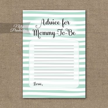Advice For Mommy Baby Shower Game - Mint Drawn Stripe