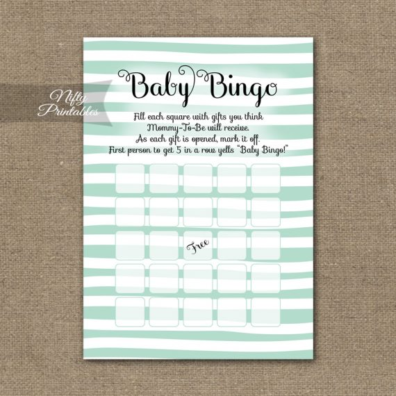 Baby Shower Bingo Game - Mint Drawn Stripe