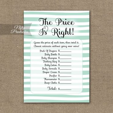 Price Is Right Baby Shower Game - Mint Drawn Stripe