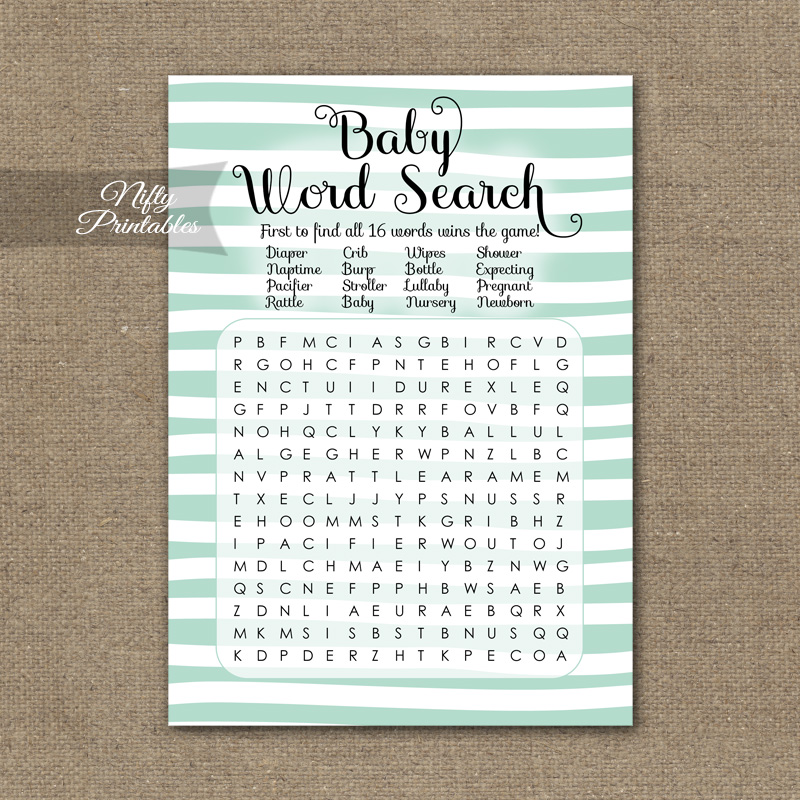 Baby Shower Word Search Game - Mint Drawn Stripe