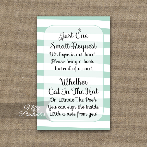 Bring A Book Baby Shower Insert - Mint Drawn Stripe
