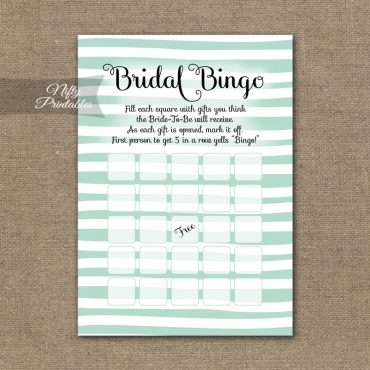 Bridal Shower Bingo Game - Mint Drawn Stripe