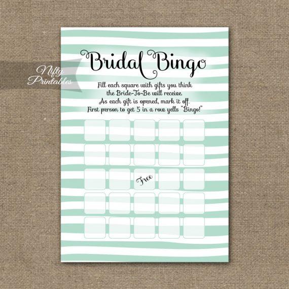 Bridal Shower Bingo Game - Mint Drawn Stripe