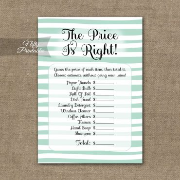 Price Is Right Bridal Shower Game - Mint Drawn Stripe