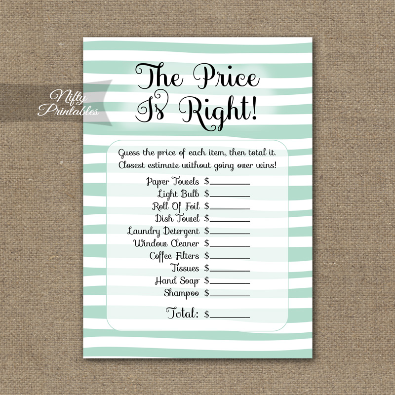 price is right bridal shower game mint drawn stripe