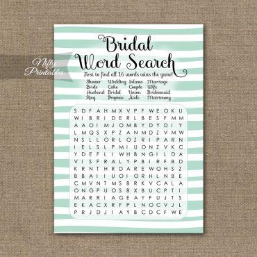 Bridal Shower Word Search Game - Mint Drawn Stripe