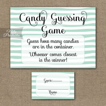 Candy Guessing Game - Mint Drawn Stripe