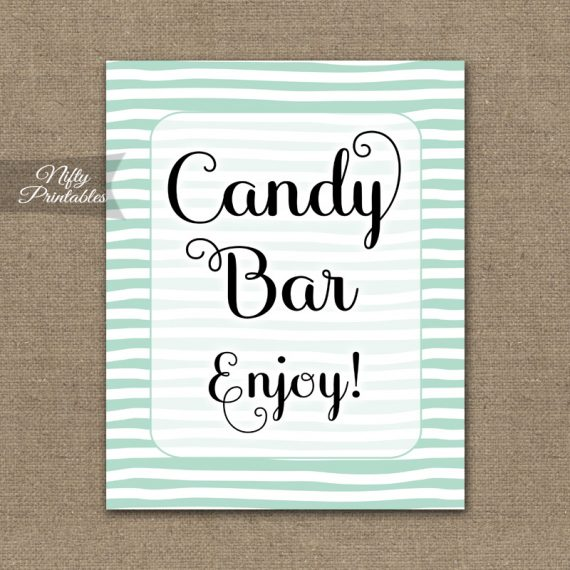 Candy Buffet Sign - Mint Drawn Stripe