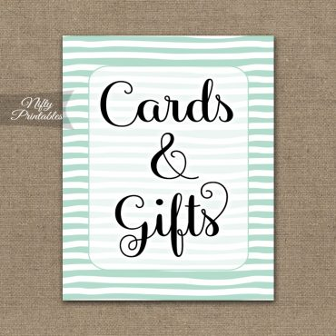 Cards & Gifts Sign - Mint Drawn Stripe