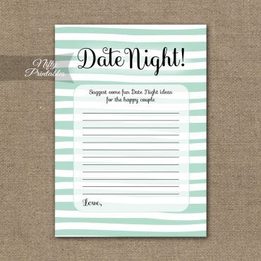 Bridal Shower Date Night Ideas - Mint Drawn Stripe