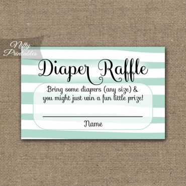 Diaper Raffle Baby Shower - Mint Drawn Stripe