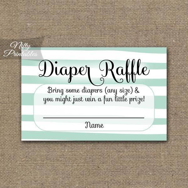 Superior Diaper Raffle Baby Shower   Mint Drawn Stripe