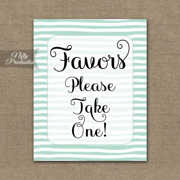 Favors Sign - Mint Drawn Stripe