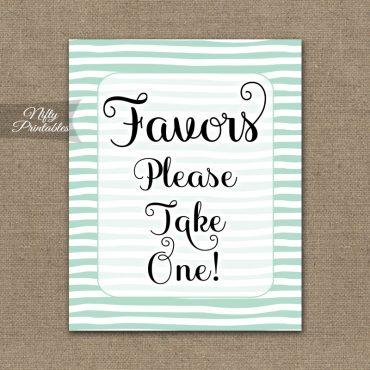 Favors Sign - Mint Drawn Stripe