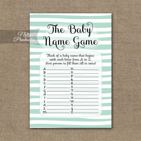 Name Game Baby Shower - Mint Drawn Stripe
