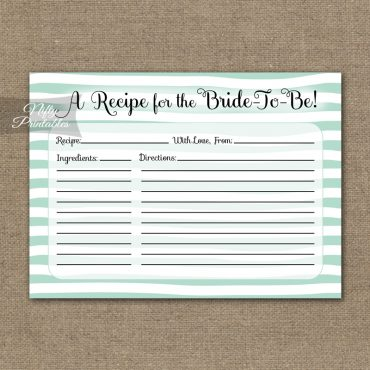 Bridal Shower Recipe Cards - Mint Drawn Stripe