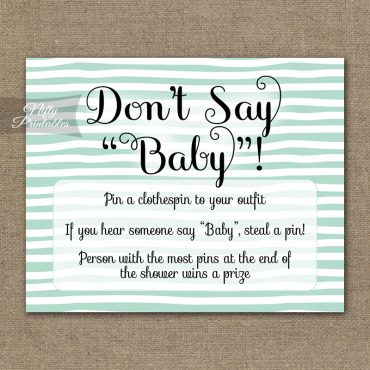 Don't Say Baby Shower Game - Mint Drawn Stripe