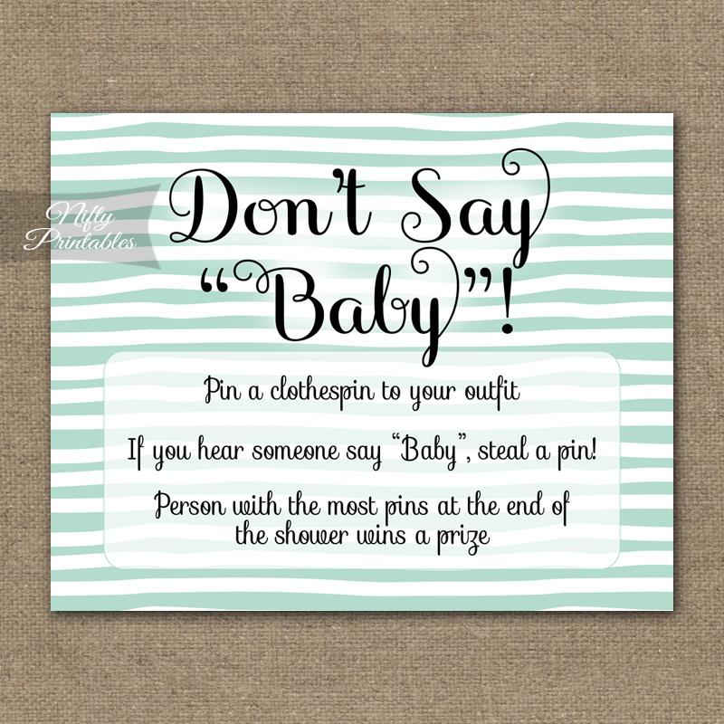 Don't Say Baby Shower Game - Mint Drawn Stripe - Nifty ...