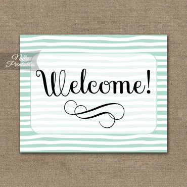 Welcome Sign - Mint Drawn Stripe