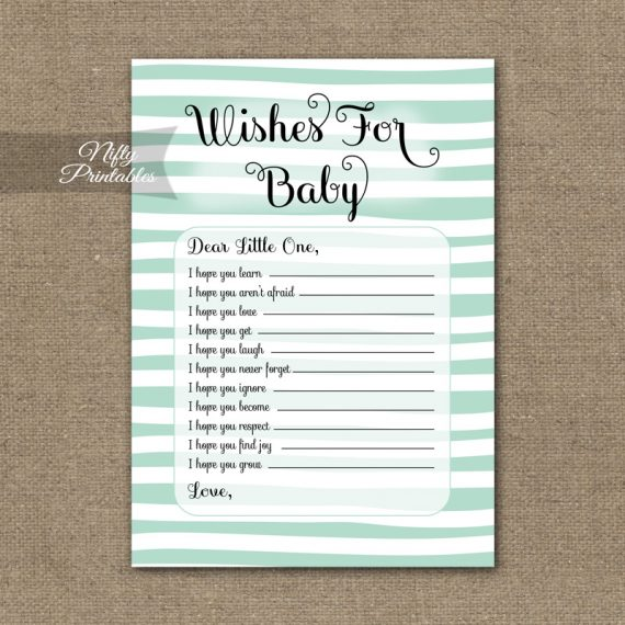 Wishes For Baby Shower Game - Mint Drawn Stripe