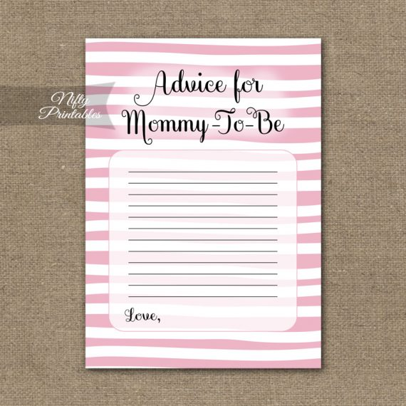Advice For Mommy Baby Shower Game - Pink Drawn Stripe