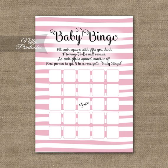 Baby Shower Bingo Game - Pink Drawn Stripe