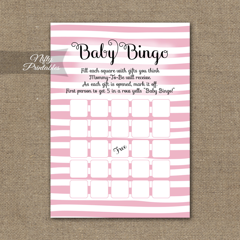 baby shower bingo game pink drawn stripe nifty printables