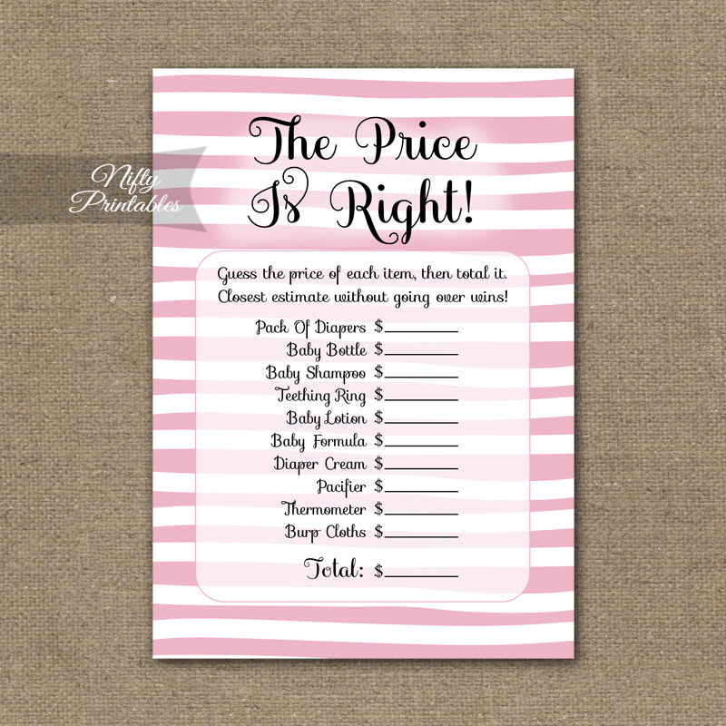 Price Is Right Baby Shower Game   Pink Drawn Stripe