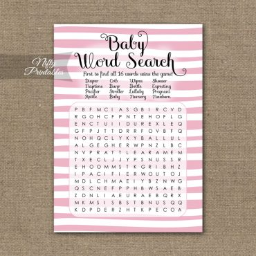 Baby Shower Word Search Game - Pink Drawn Stripe