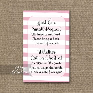 Bring A Book Baby Shower Insert - Pink Drawn Stripe