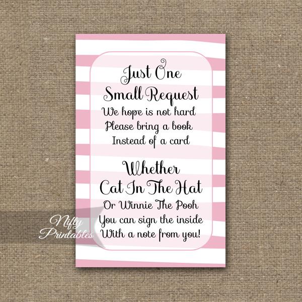 Bring A Book Baby Shower Insert - Pink Drawn Stripe